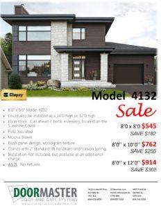 Clopay Mocha Brown garage door on sale