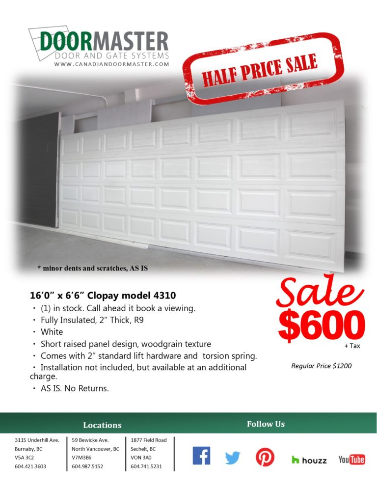 "16' x 6'6"" White Garage Door"