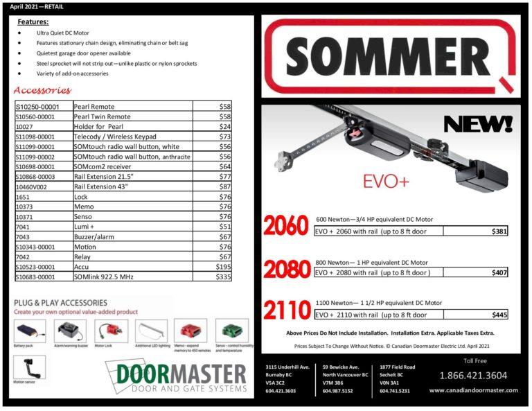 Sommer EVO Pricelist Canadian Doormaster