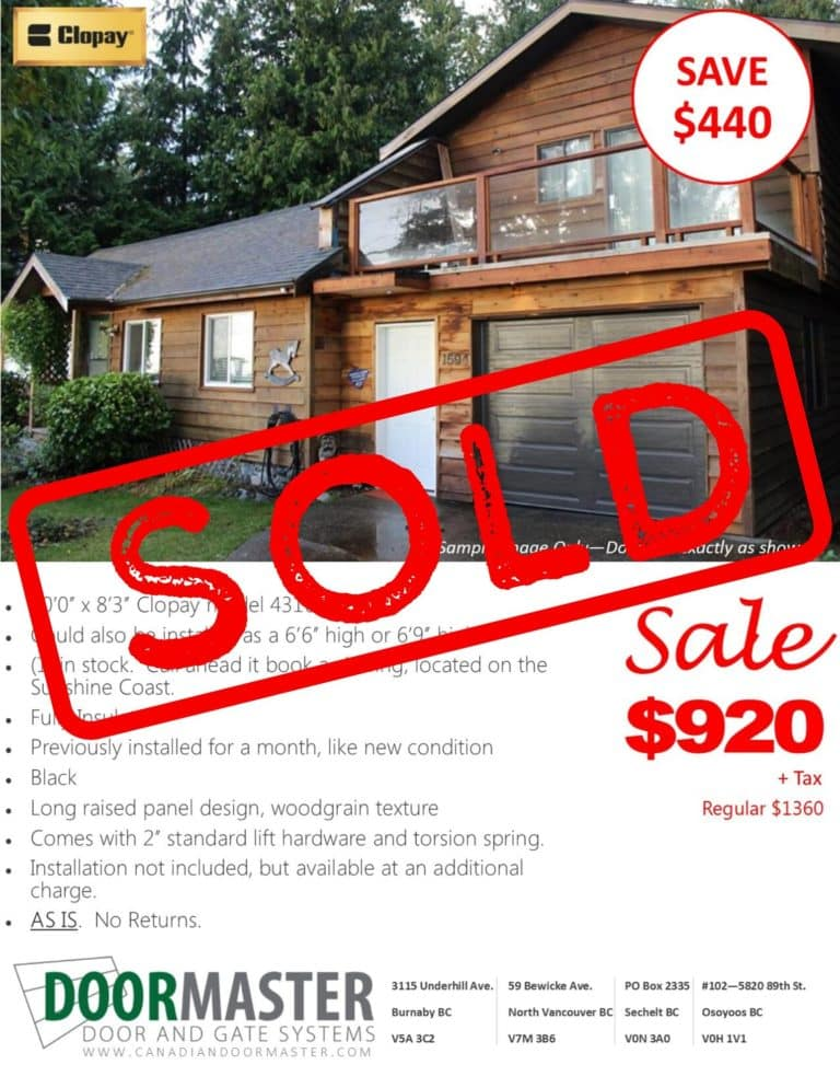 sold garage door in vancouver