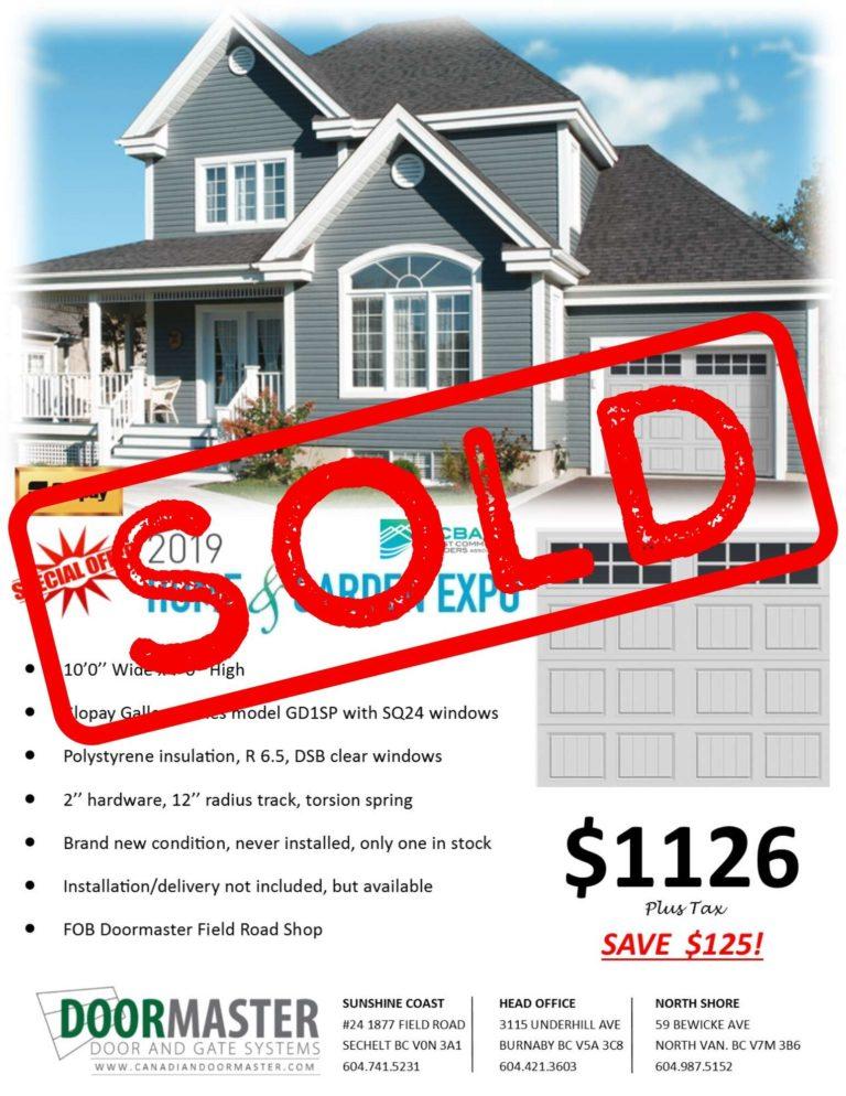 Garage door sold in Vancouver