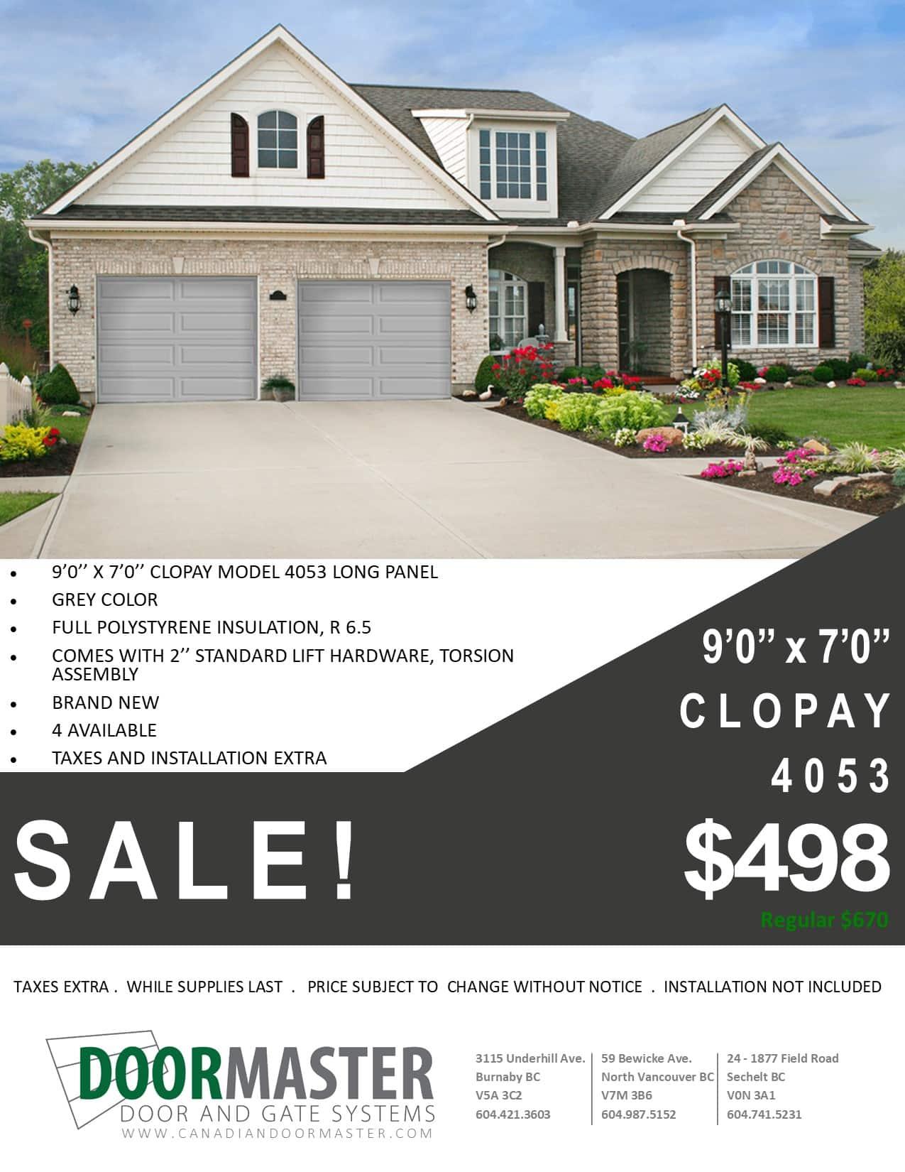 Clopay 9′ x 7′ model 4053 long panel