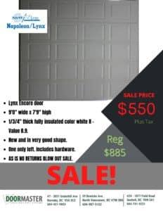 Lynx Encore garage door for sale in Vancouver
