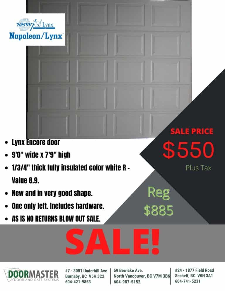 Lynx Encore garage door for sale in Vancouver