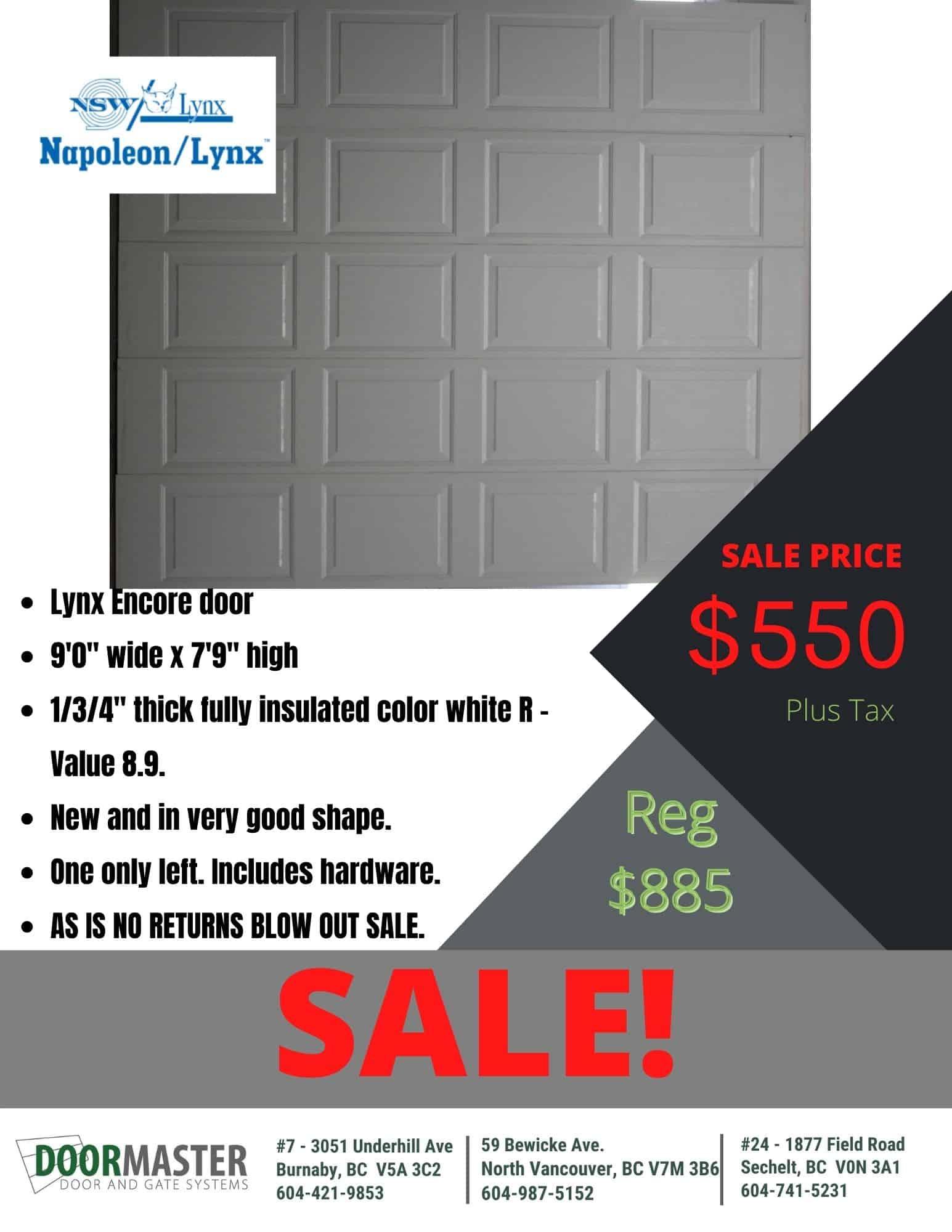 Lynx Encore garage door 9'x7'9″ [SALE]