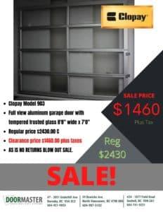 Clopay garage door sale Vancouver