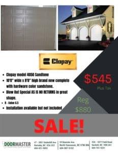 Clopay 4050 garage door on sale