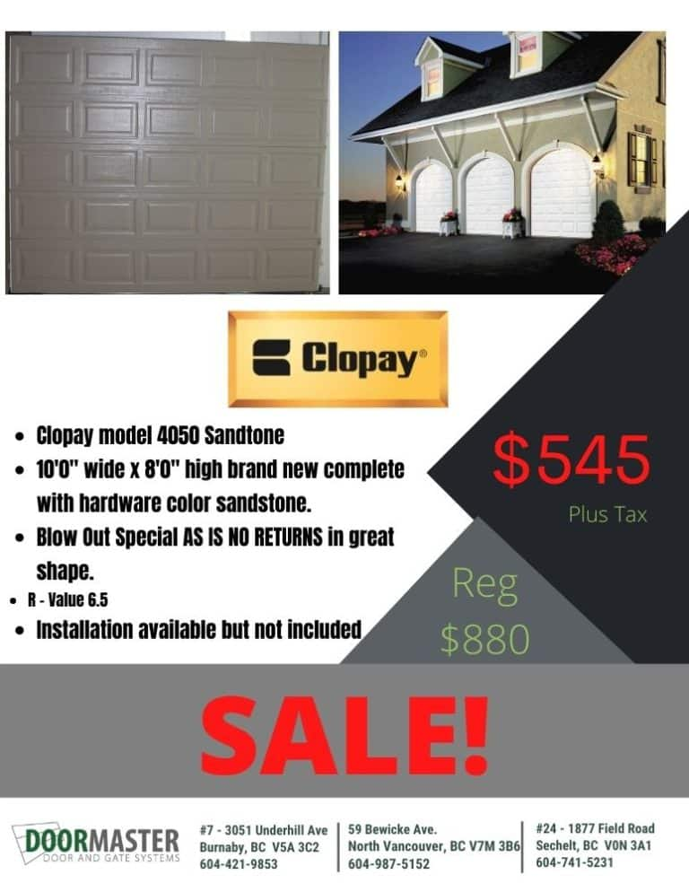 Clopay 4050 garage door on sale