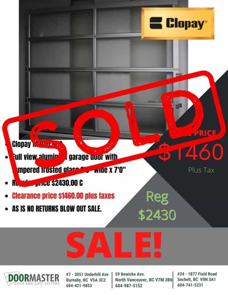 clopay garage door sold