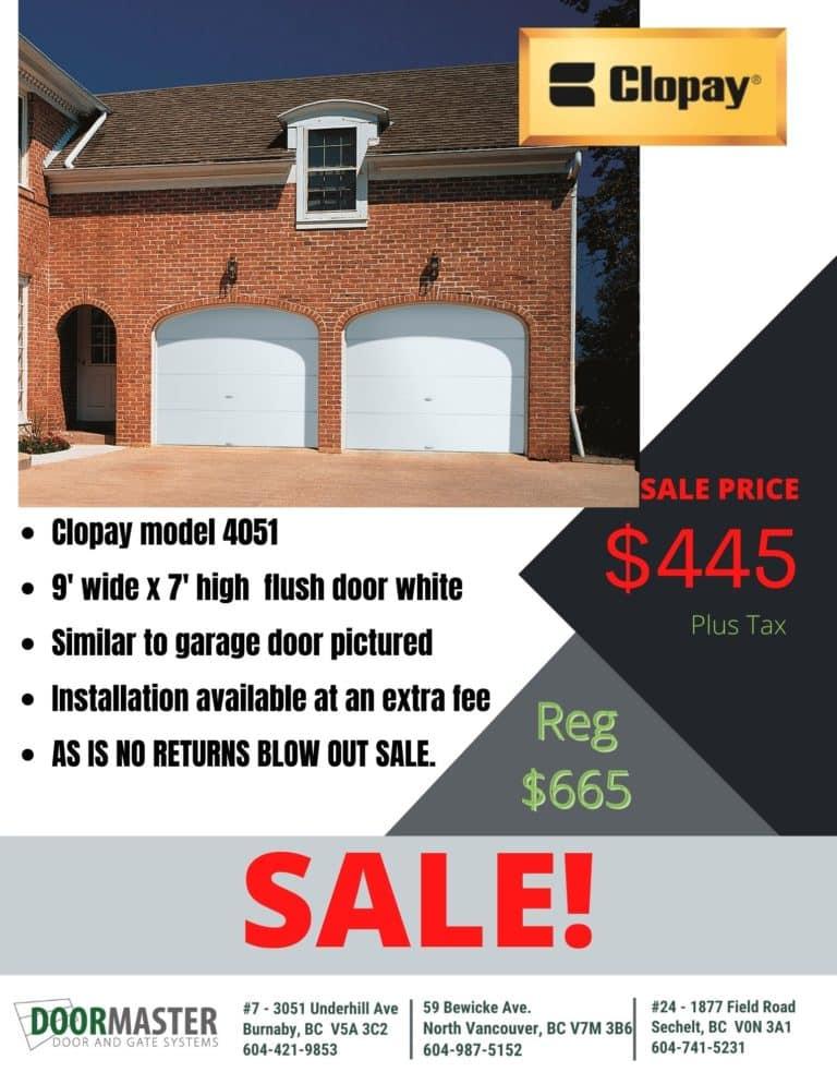 Clopay garage door clearance sale Vancouver