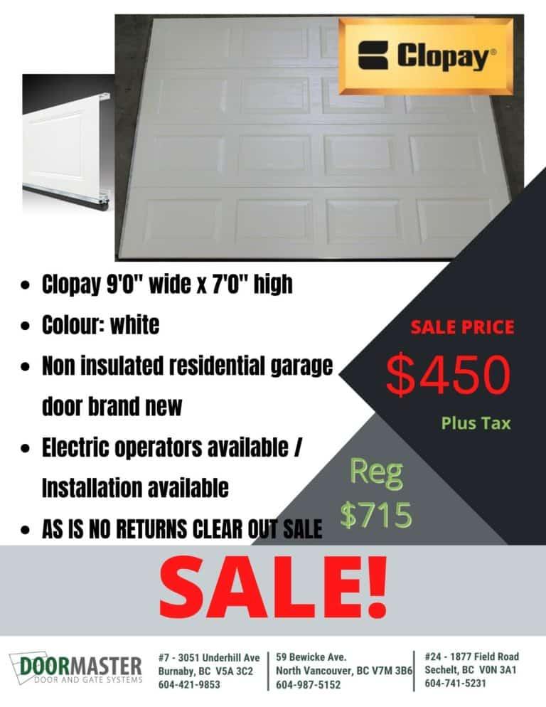 Clopay garage door sale in Vancouver