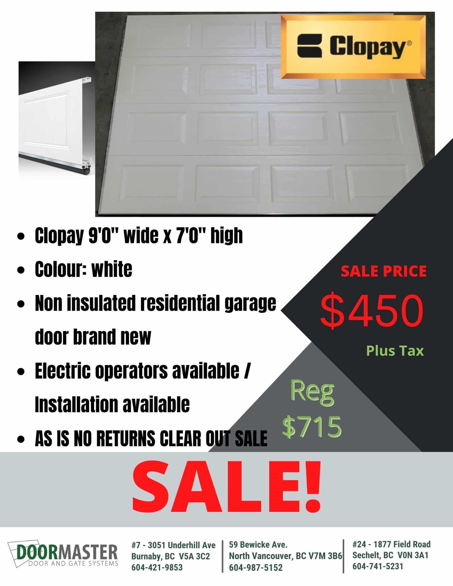 Clopay 9'0″ wide x 7'0″ non-insulated [SALE]