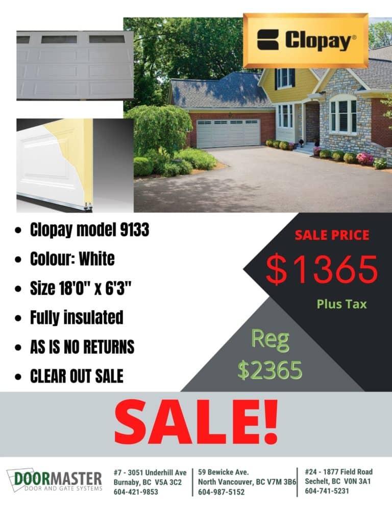 Clopay garage door 9133 sale in Vancouver