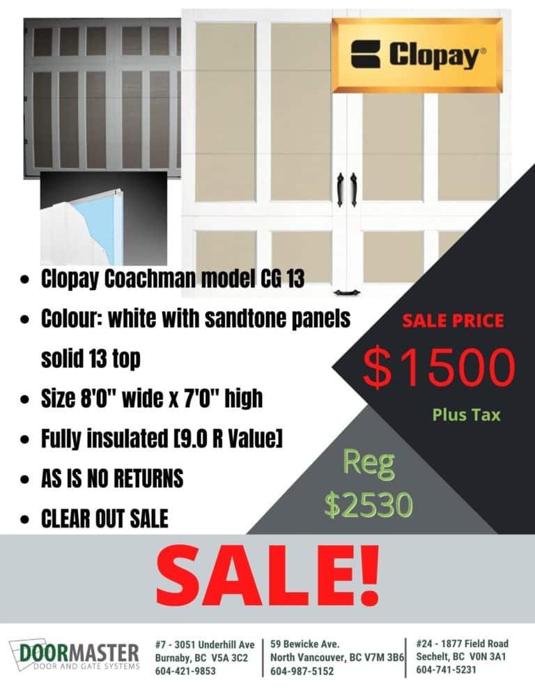 Clopay-Coachman-garage door sale
