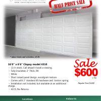 "16' x 6'6"" White Garage Door"